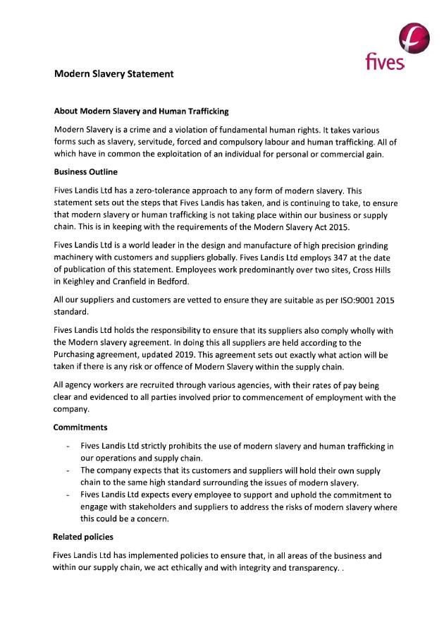 Modern Slavery Statement - Fives Landis Ltd.
