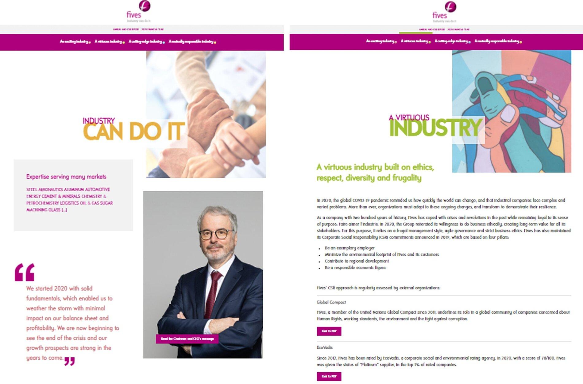capture d'écran du mini site du rapport annuel et de développement durable